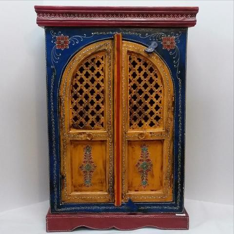 FURNITURE SMALL CABINET CUPBOARD HAND PAINTED EMBOSSED INDIAN ART.
