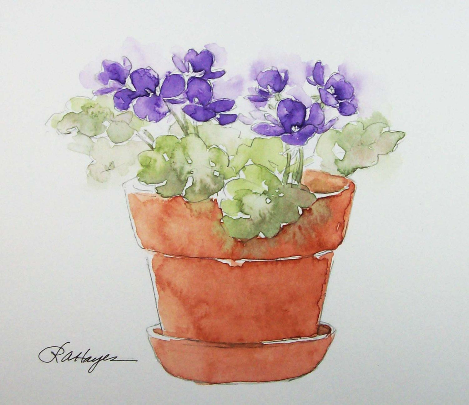 Purple African Violets In Terra Cotta Pot Watercolor Painting