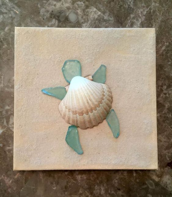 "Crafting Blog: 1  ""Sea glass Turtle Canvas"""