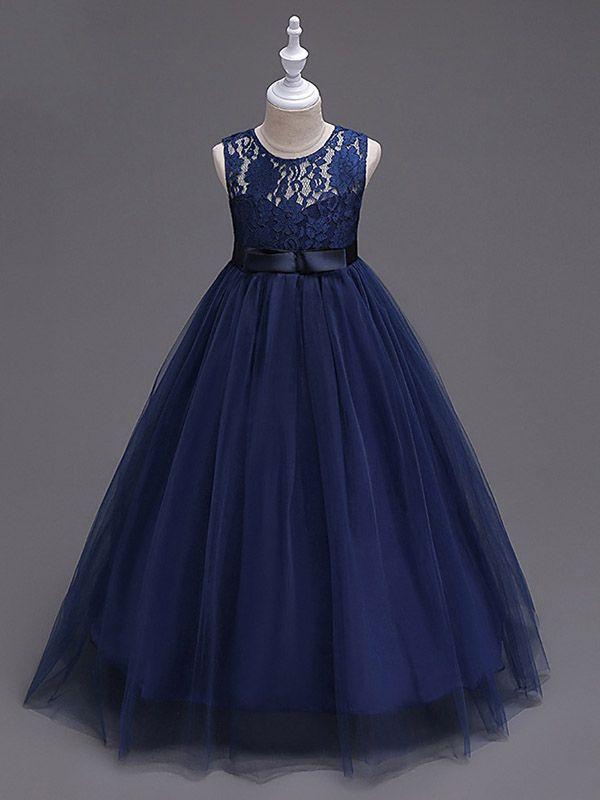 5e4e3492b Navy Blue Lace Flower Girl Dresses Tulle Kids Ball Gown Dress ...
