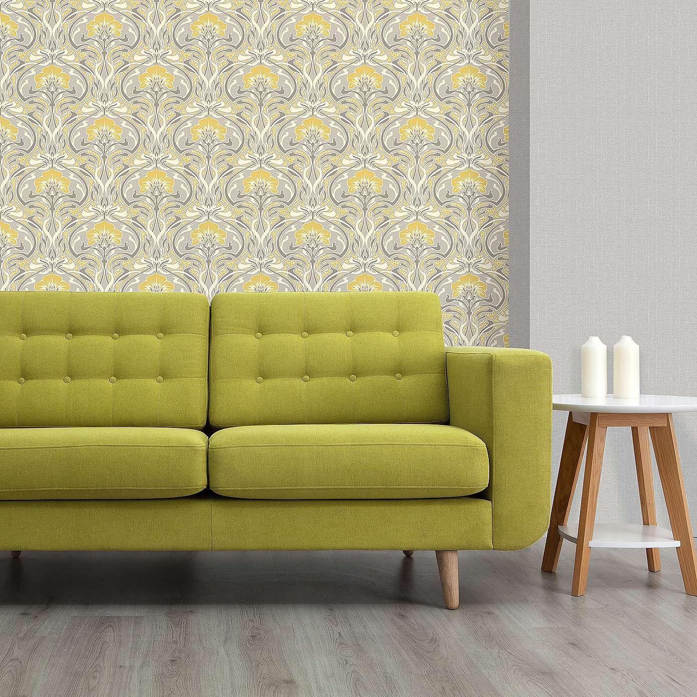 Flora Nouveau Yellow Wallpaper Dunelm Damask wallpaper