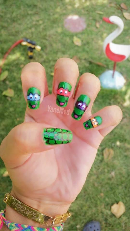 Uñas Tortugas Ninja! #nail #art | uÑas | Pinterest