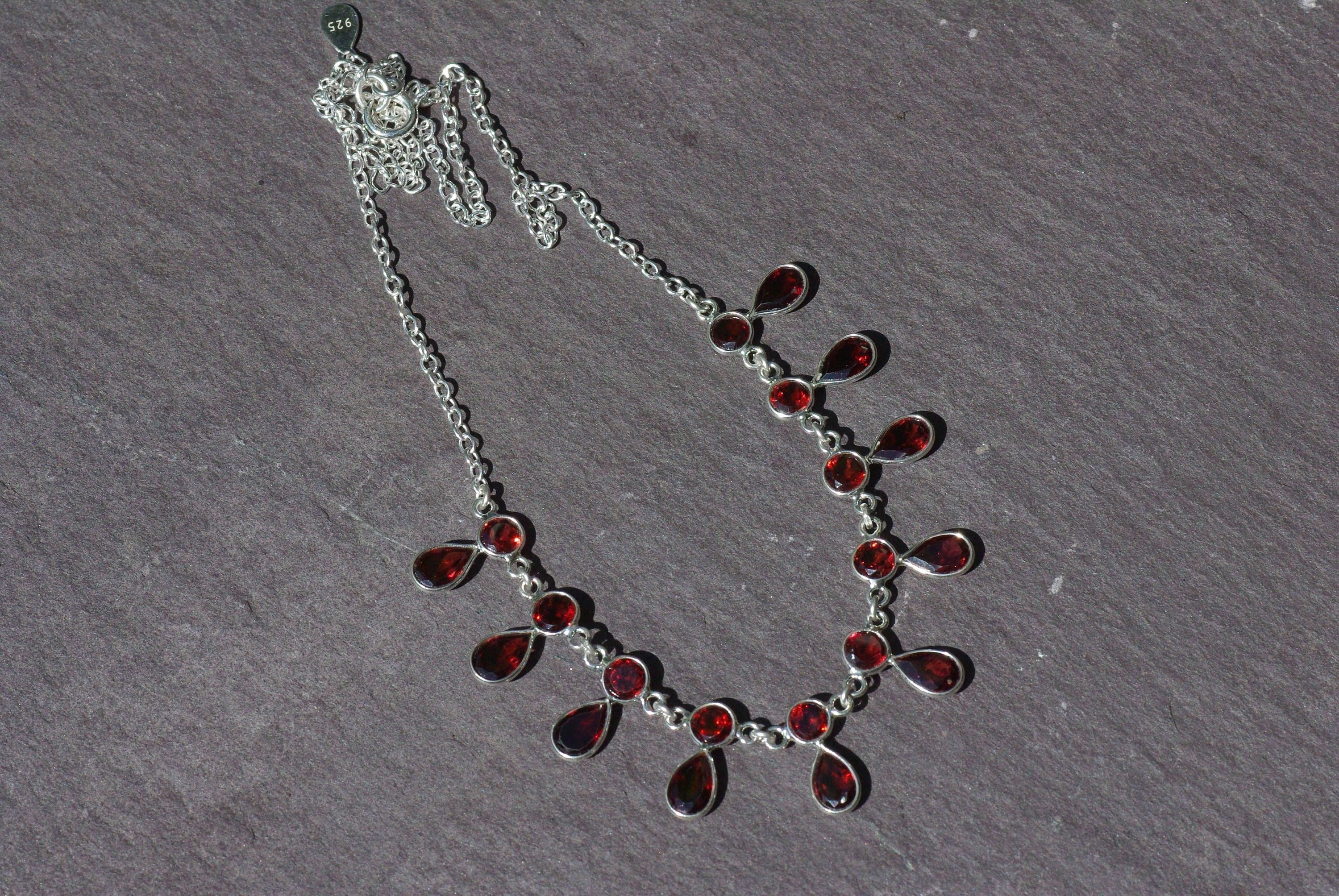 heart w created sterling red diamond necklace in pendant silver garnet products size