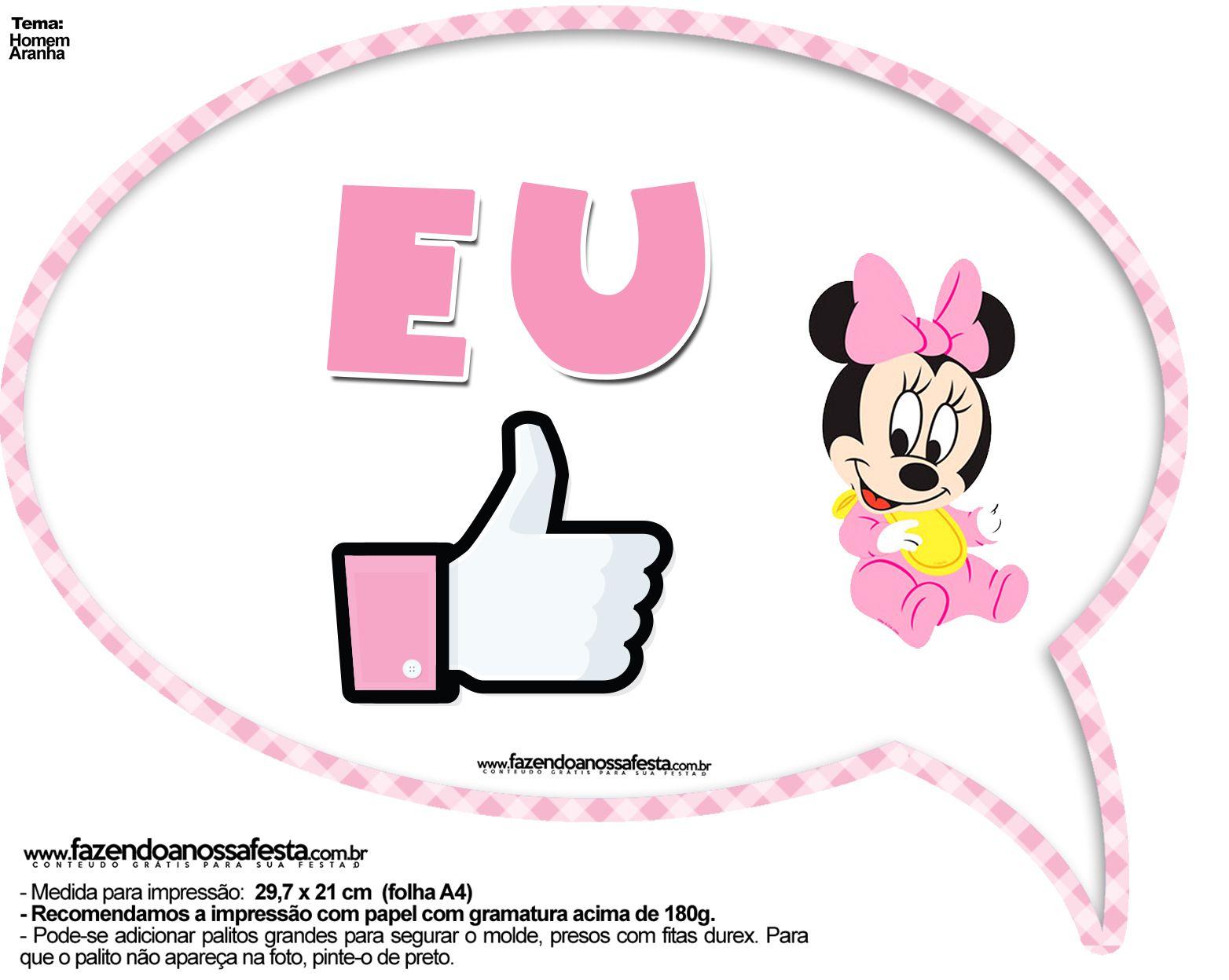 Pin De Marina Em Baby Disney Festa Minnie Rosa Simples