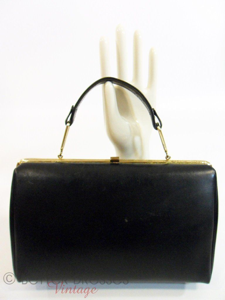 50s 60s Black Leather Frame Purse