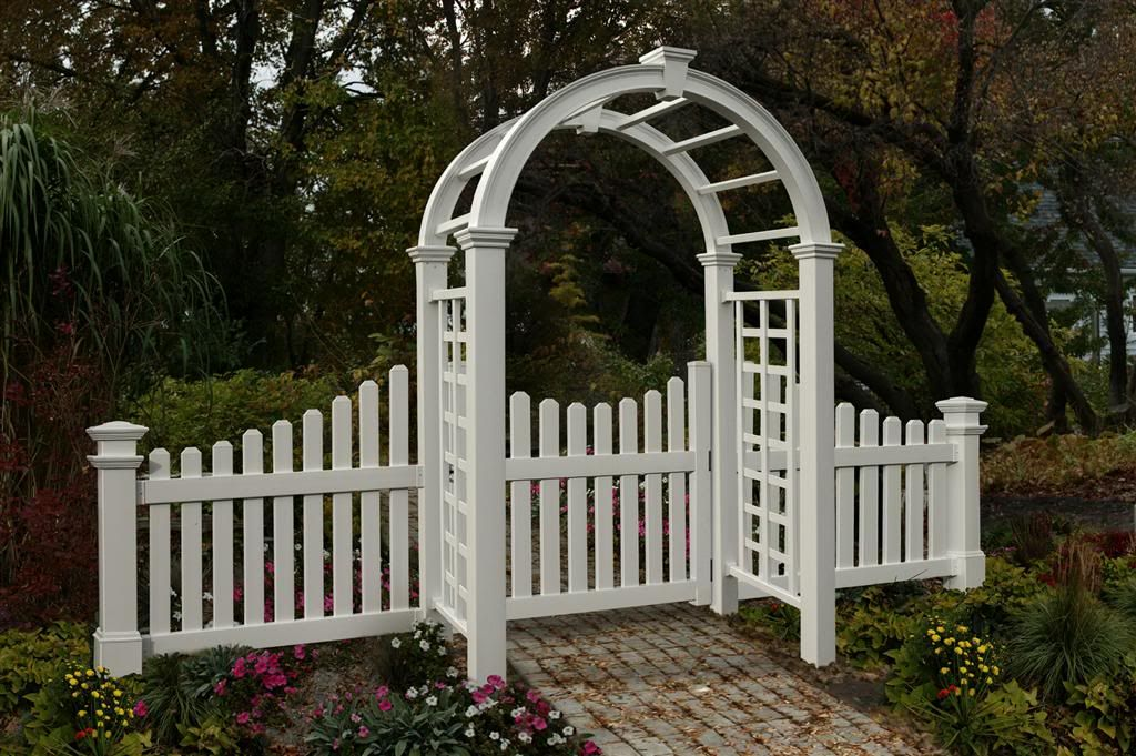 Fence With Arch Gate   Deluxe Arbor W/ GATE And W/ Cottage Picket Wings
