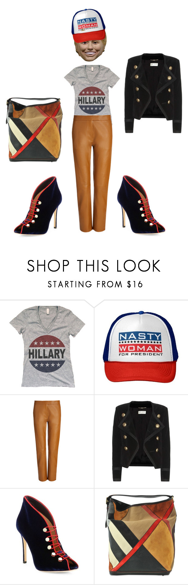 """""""Nasty Woman"""" by klynnmorton ❤ liked on Polyvore featuring Joseph, Yves Saint Laurent, Gianvito Rossi and Burberry"""