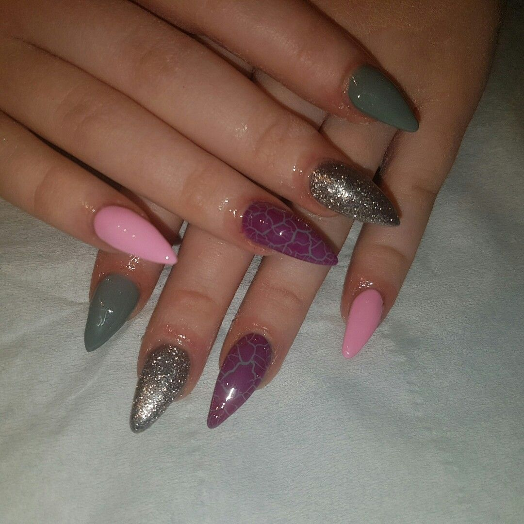glitter nails, cracked effect gel polish, nail Design, acrylic nails ...