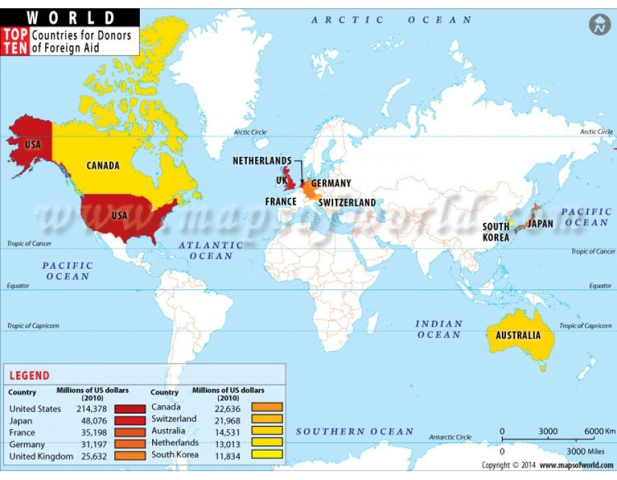 Top Ten Nations Of World By Donors Of Foreign Aid Life Map Poor Countries Map
