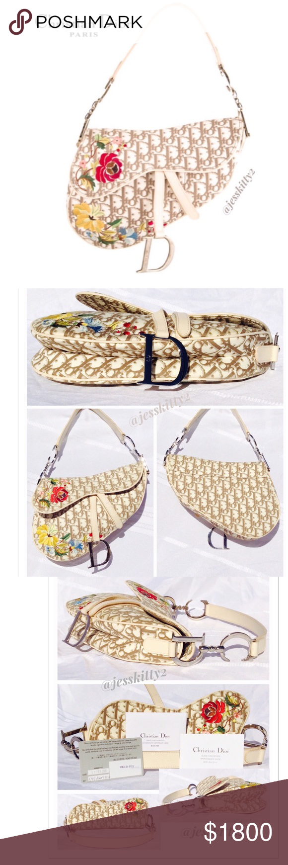 c2e056c1b9 VINTAGE RARE CHRISTIAN DIOR Floral Saddle Bag Cream monogram canvas saddle  bag with floral