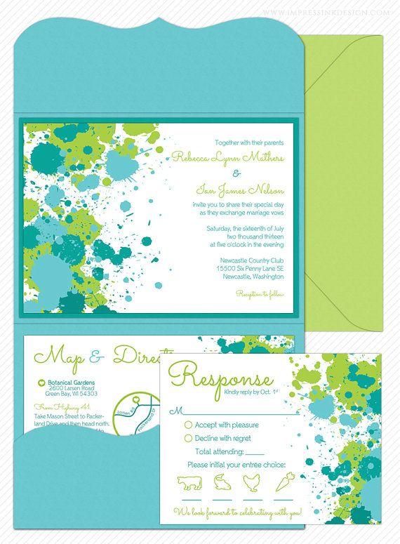 Paint Splatter Wedding Invitation Sample Flat or Pocket Fold Style - formal invitation style