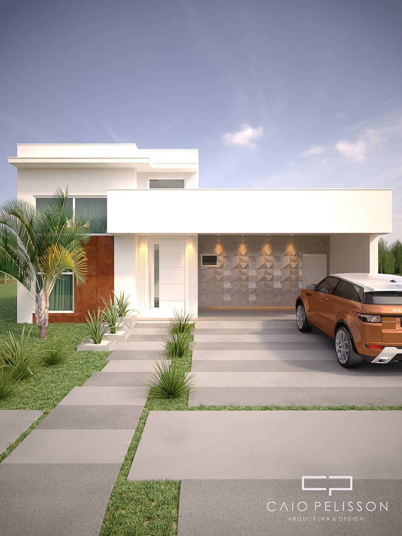 Projeto casa t rrea 180 metros fachada moderna condom nio for Fachadas de casas modernas tropicales