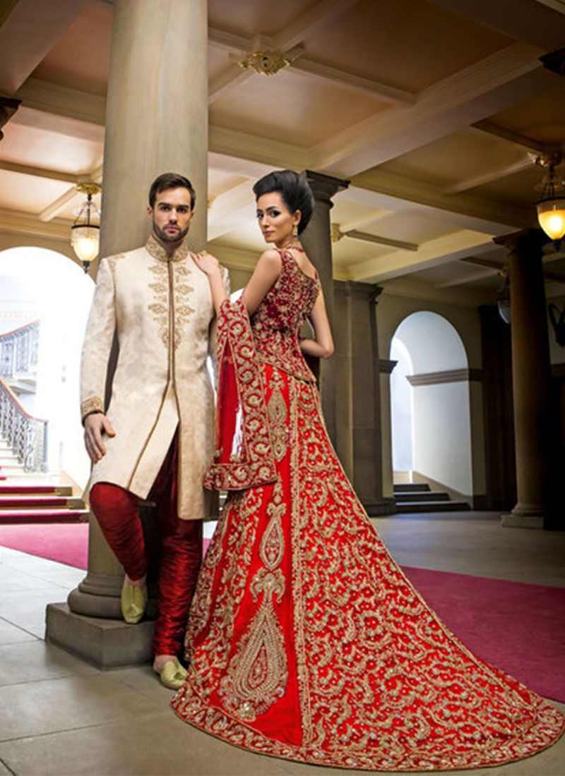 Indian Bride Groom Lehenga Choli And Sherwani Dress