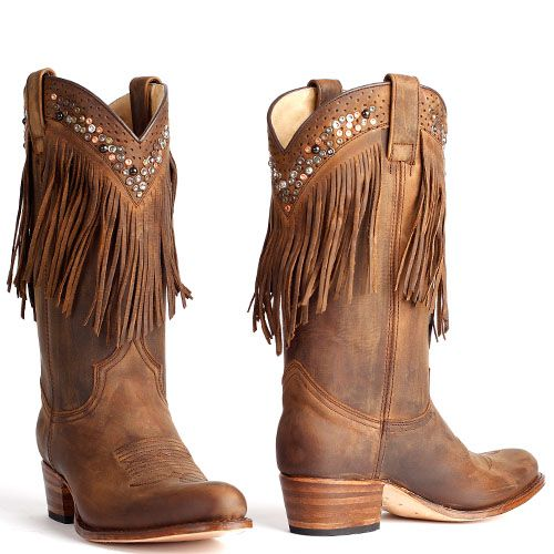 Sendra laarzen met franjes donker bruin 8934 | Laarzen