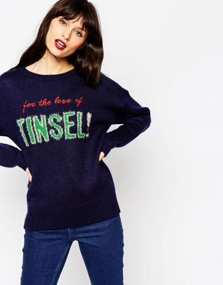a0c3d457cd9 ASOS For the Love of Tinsel Christmas Jumper