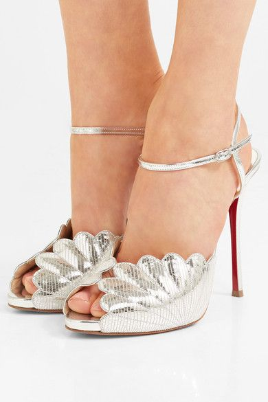 Botticella 120 Metallic Lizard-effect Leather Sandals - Silver Christian Louboutin