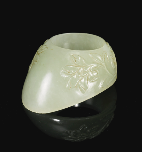 A carved jade archer's thumb ring, India, 17th century