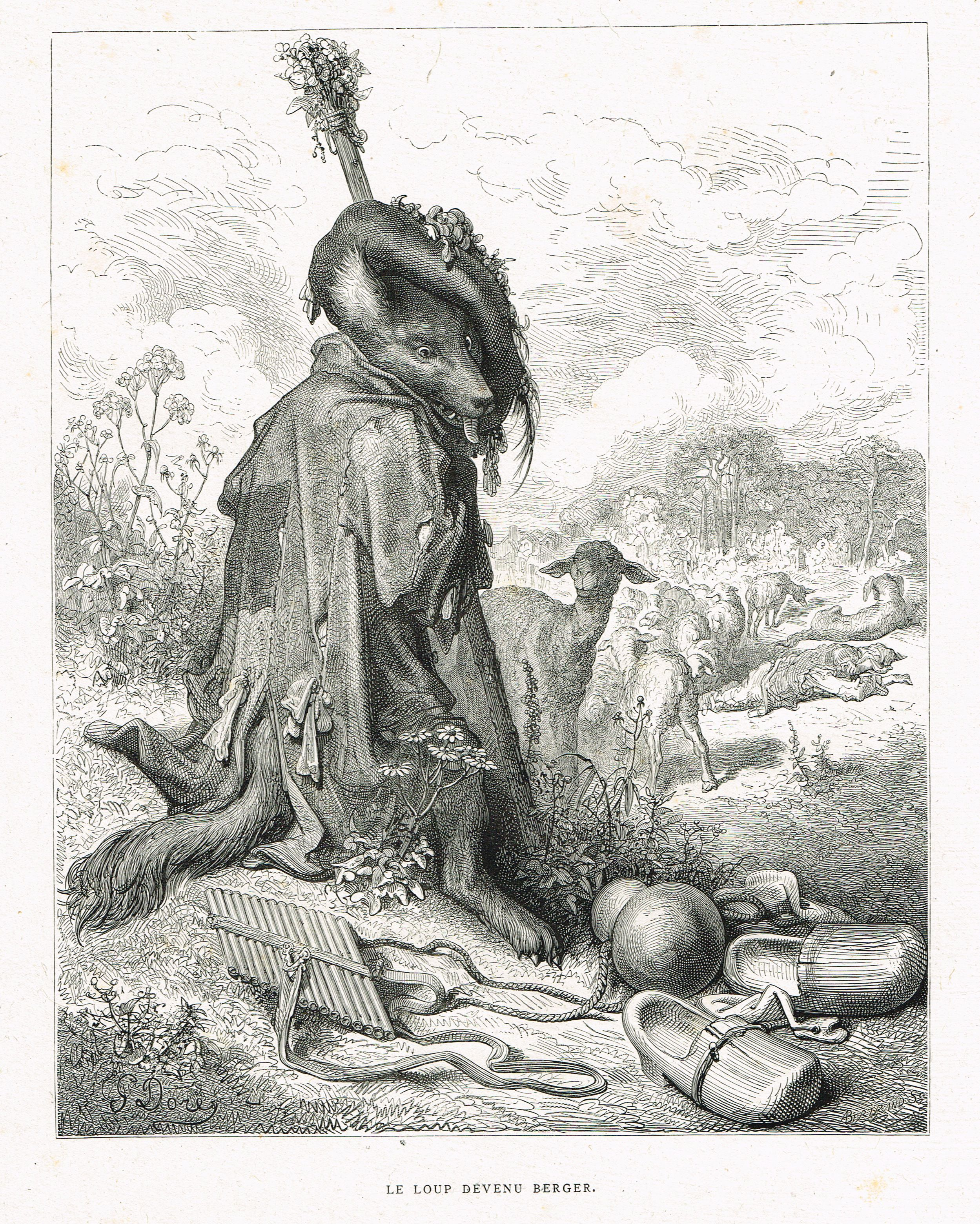 Le Loup Devenu Berger Fable De Jean De La Fontaine Illustree Par Gustave Dore Mas Estampes Anciennes Mas Antique Prints Gustave Dore Art Illustration