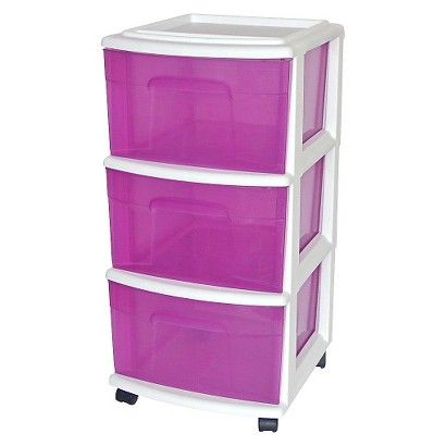 Drawer Medium Plastic Storage Cart White Purple Room Essentials