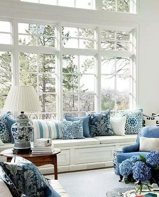 Blue and White Decor Blau Pinterest Wohnzimmer, Blau und Deko - Wohnzimmermöbel Weiß Landhaus
