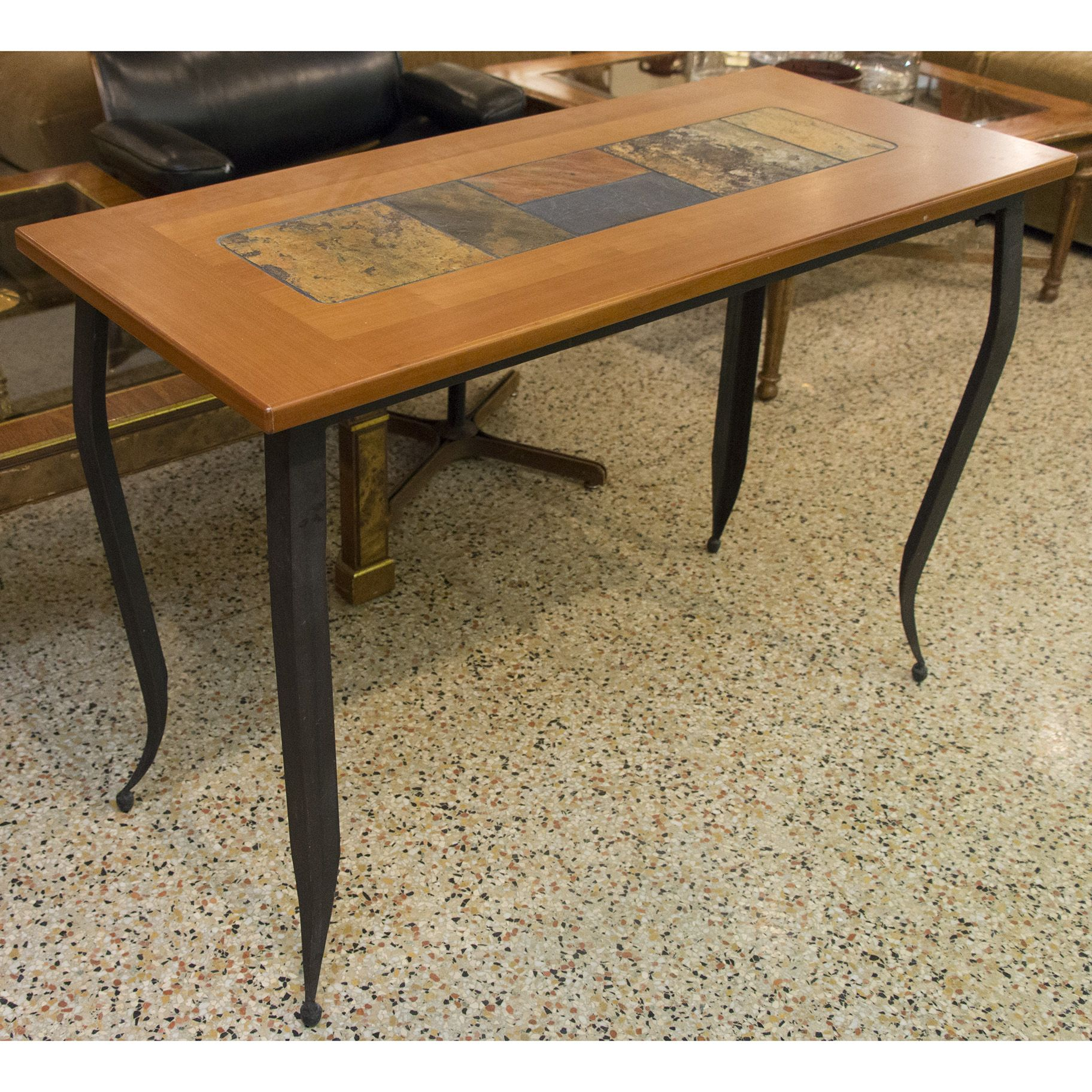 Sofa table with iron legs and slate tile top living room sofa table with iron legs and slate tile top geotapseo Gallery