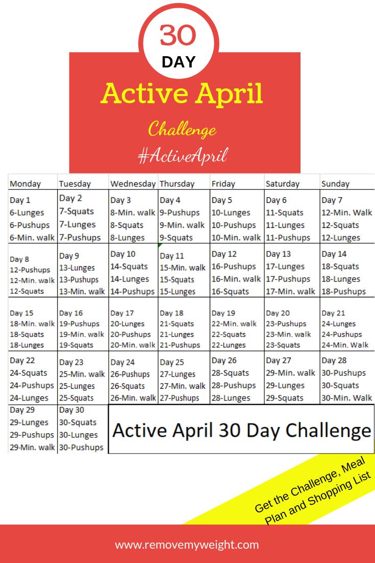 30 Day Active April Challenge - Menu Plan for Weight Loss    30-Tage-Herausforderung, um im April aktiver zu werden - kostenloser Speiseplan und Einkaufsliste für einfachen Gewichtsverlust und Spaß. #Active #April #Challenge #Gewichtsreduktion #Menüplan #Tage #weight loss plans 30 day #zur