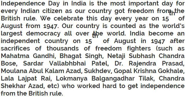 Independence Day Short Essay 250 Words