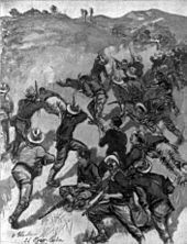 """The Fight for Santiago. The """"Rough Riders"""" charging up the San Juan Hill, July 1st, and driving the Spanish from their entrenchments. Illustration from McClure's, October 1898"""