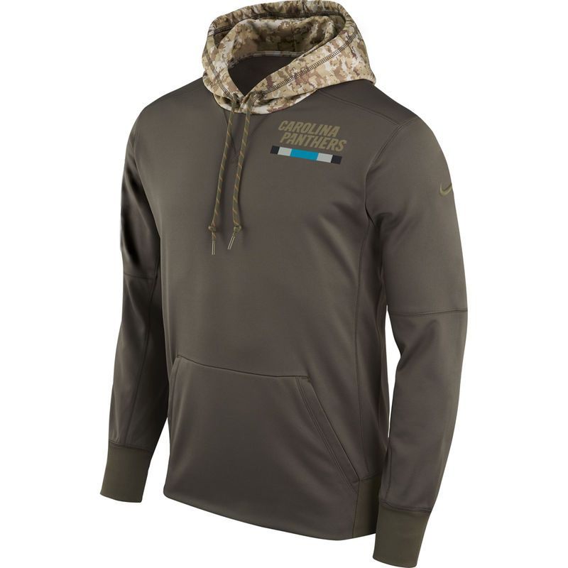 907936803 Men s Nike Olive Carolina Panthers Salute to Service Sideline Therma  Pullover Hoodie