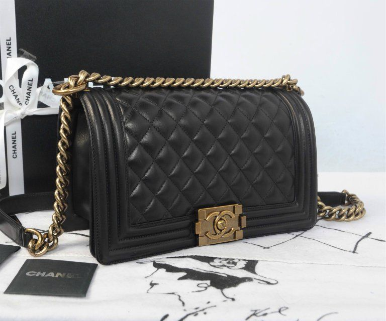 cca300ee3969 Chanel Boy bag in black w/gold accents | Lady's Bags | Chanel boy ...