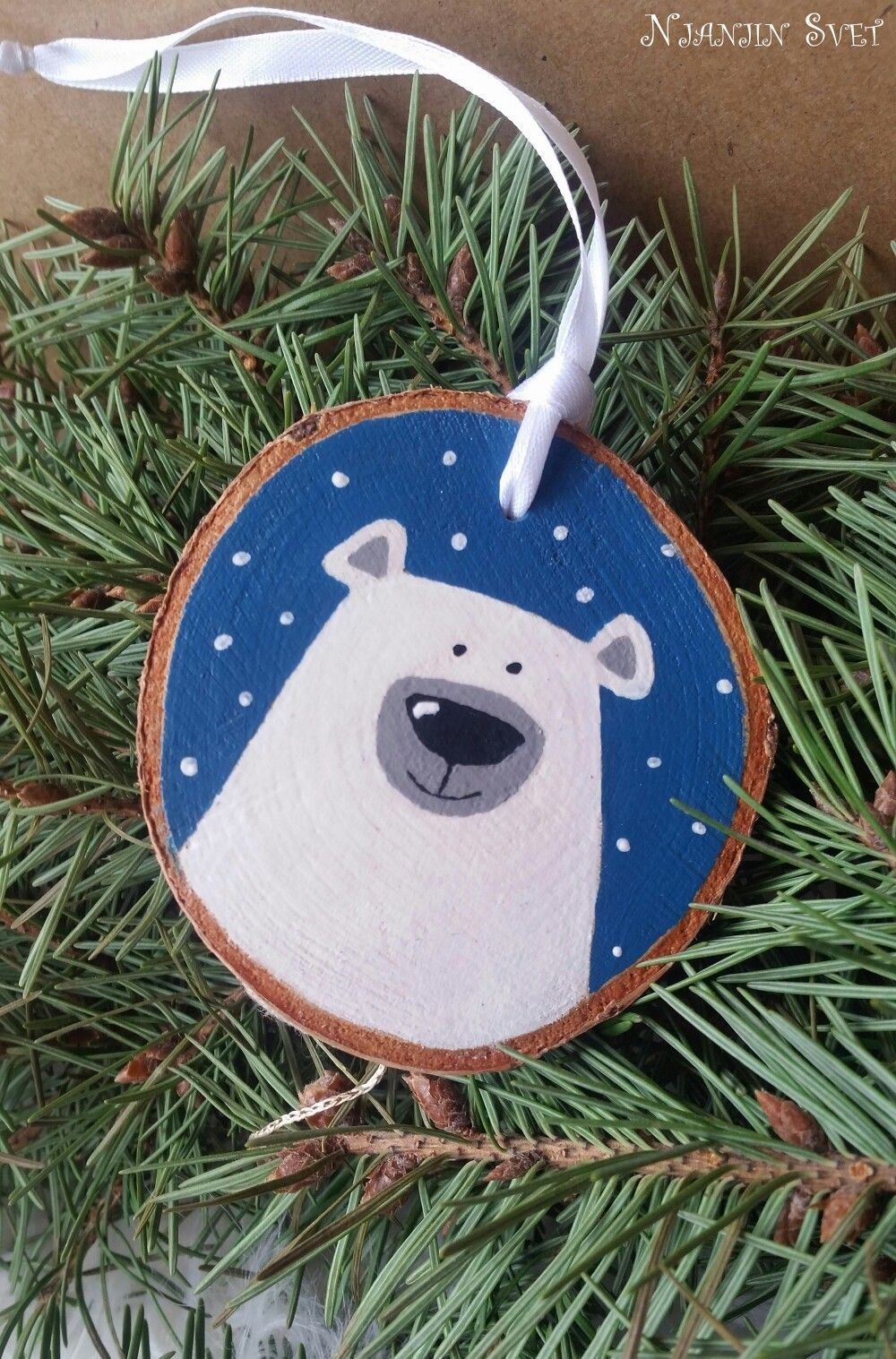 Handpainted Polar Bear Wood Slice Ornament Two Sided Write Your Own Message Xmas Crafts Wood Christmas Ornaments Diy Christmas Ornaments