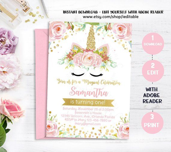 Unicorn Invitation Magical 1st Birthday First Floral Pink And Gold Rainbow Pastel Edit