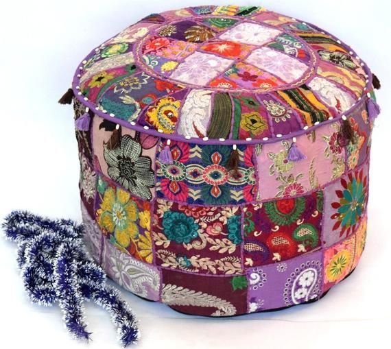 Amazing 18 Patchwork Pouf Ottoman Indian Purple Pouf Cover Uwap Interior Chair Design Uwaporg