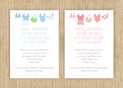 Clothes Line Baby Shower Invitations Boy Or Creative Printing Panama City Fl