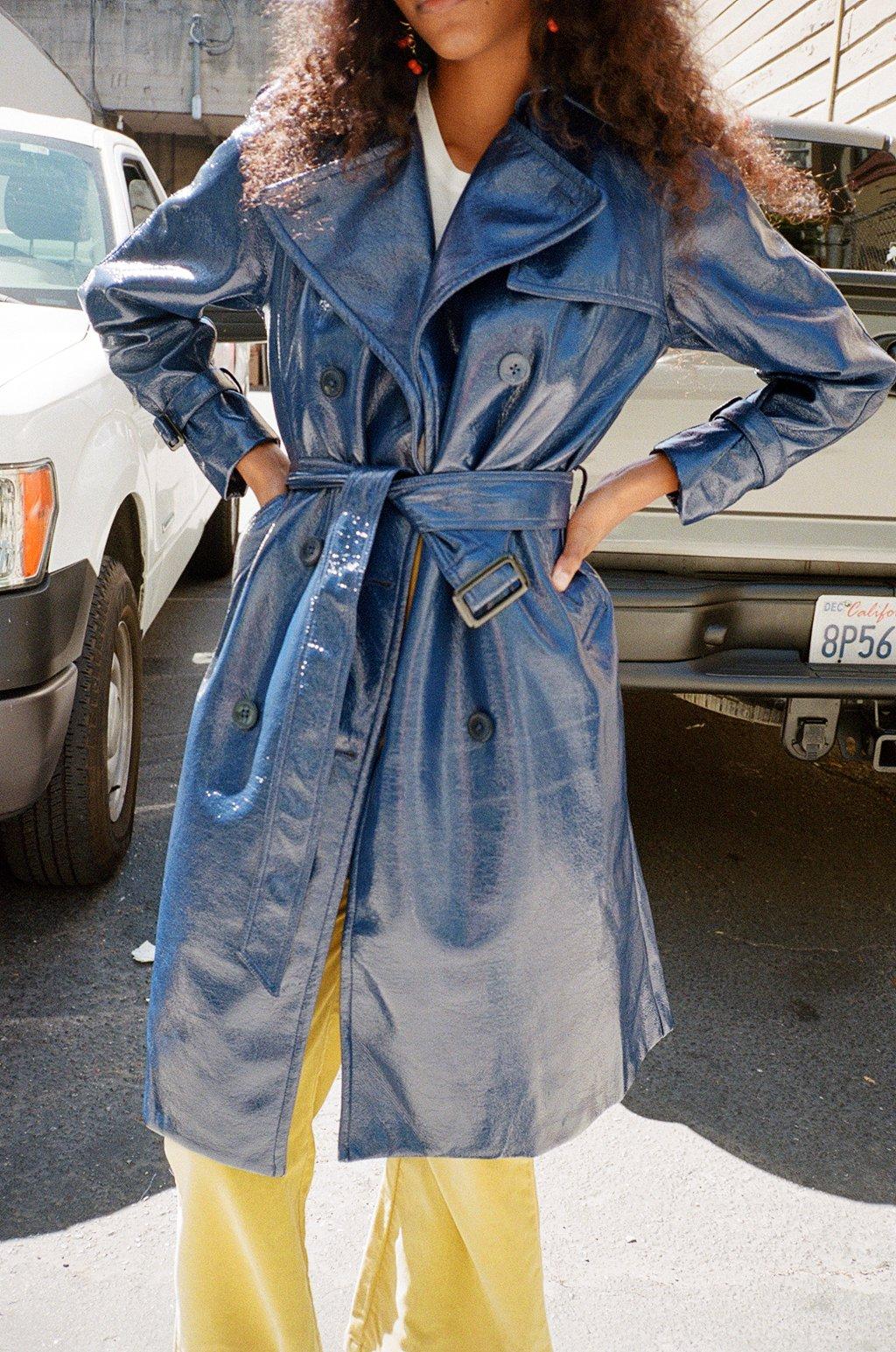 Jane Trench Coat Navy Vinyl Coat Trench Coat Dark Outfits