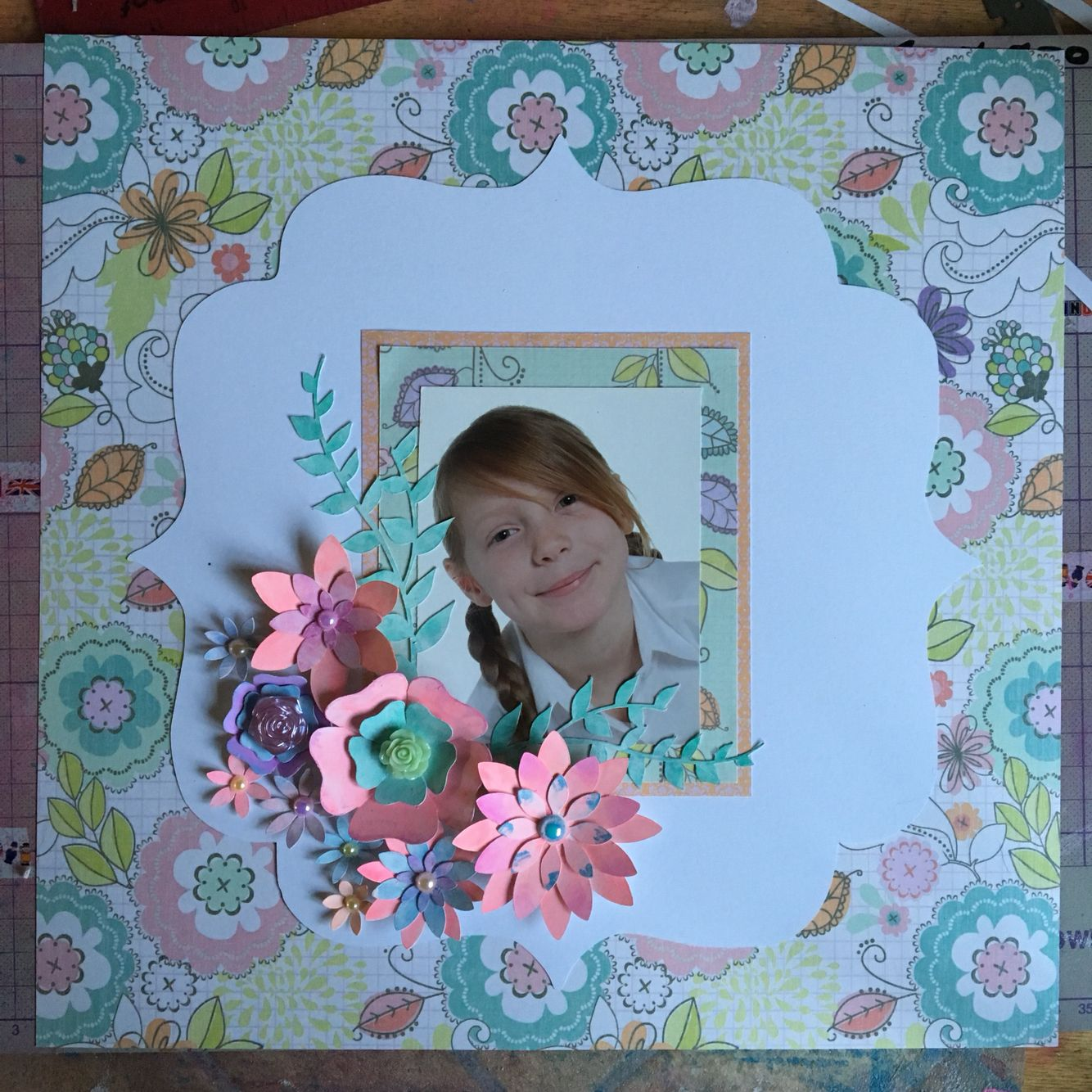 Scrapbook page made with grace Taylor 12x12 paper pack