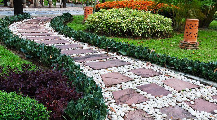 Jardín con piedras camino Proyectos de jardín Pinterest Jardín