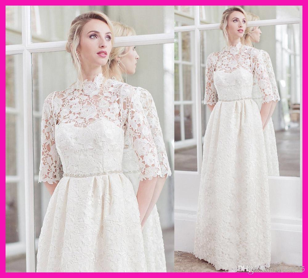 Long sleeve casual wedding dress  Modest White Lace High Neck Long Sleeve Casual Designer Wedding