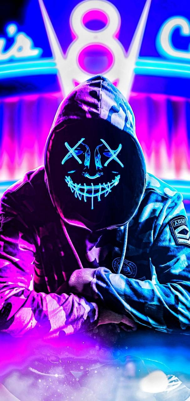Neon mask wallpaper by TheMune007 - 0e - Free on ZEDGE™