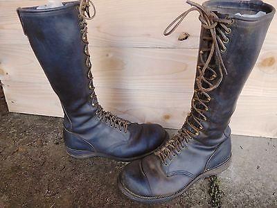 Vintage Chippewa Usa Tall Black Leather Lineman Logger Work Boots Size 11 E