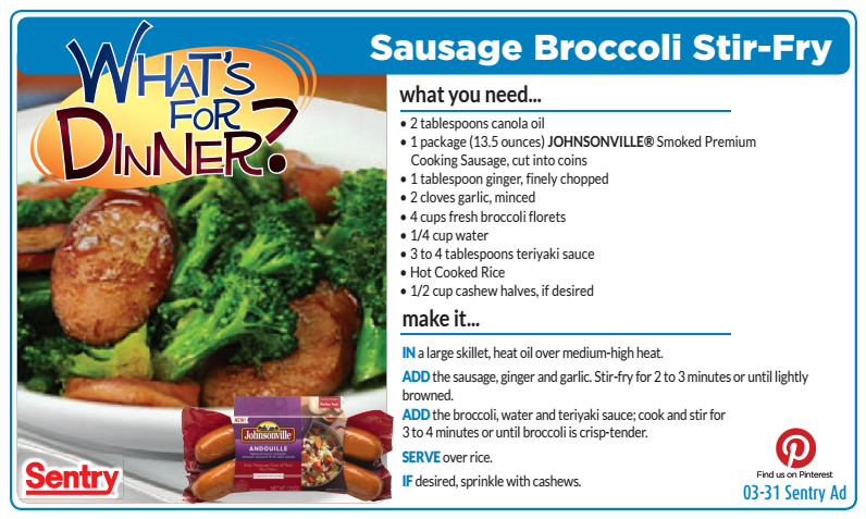 Need a simple dinner solution? This Sausage & Broccoli Stir Fry recipe should do the trick. #WhatsForDinner #sausage #stirfry #broccoli
