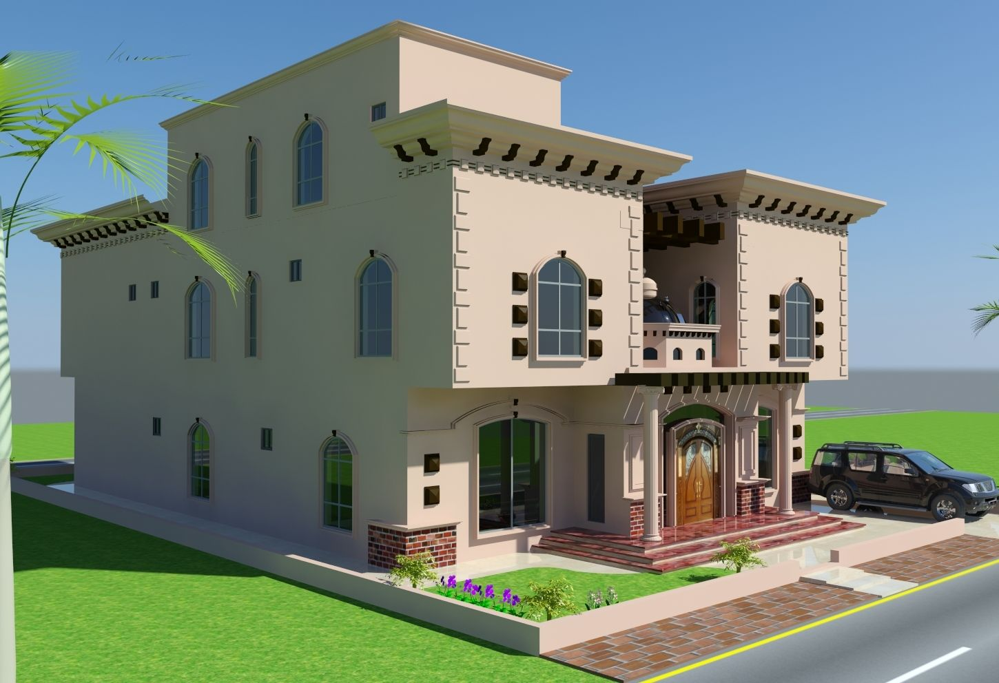 Arabic home designs 3d front elevation arab front for Arabic home design