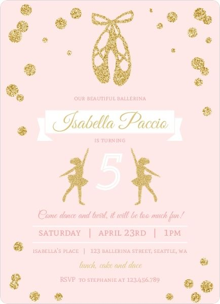 Pink and gold ballerina birthday party invitation balerine easily customize this pink and gold ballerina birthday party invitation design using the online editor all of our kids birthday invitations design stopboris Choice Image