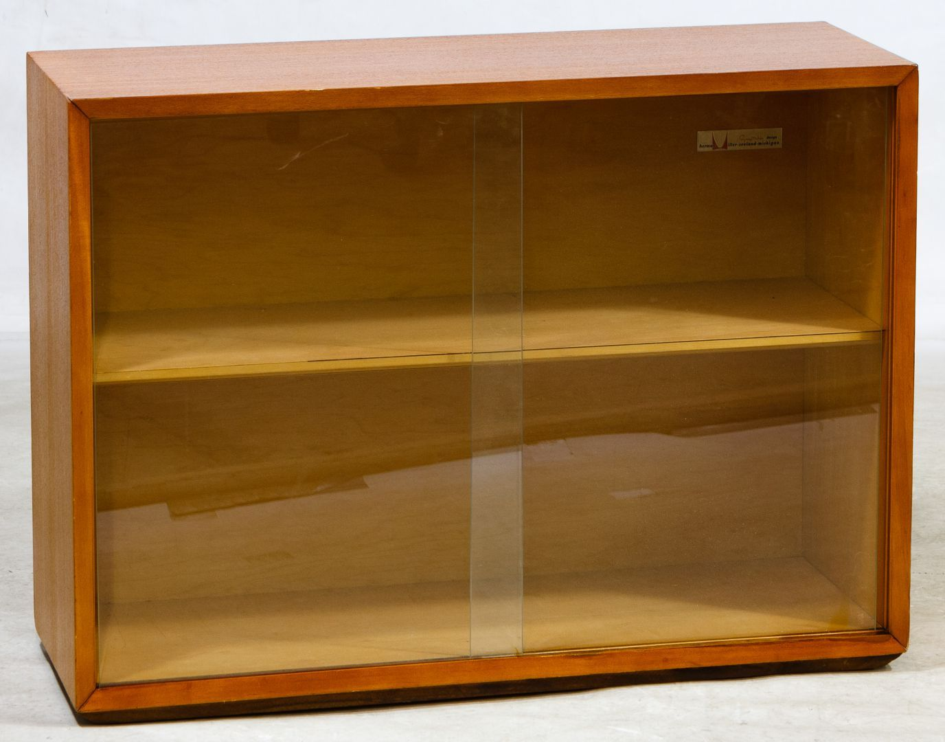 Lot 79 Mcm Teak Display Cabinet By Herman Miller Having Sliding