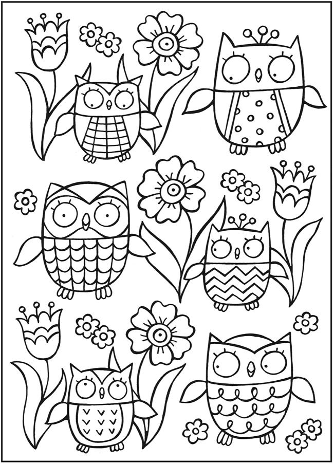 SPARK Owls Coloring Book sample pages @ Dover Publications | I ...