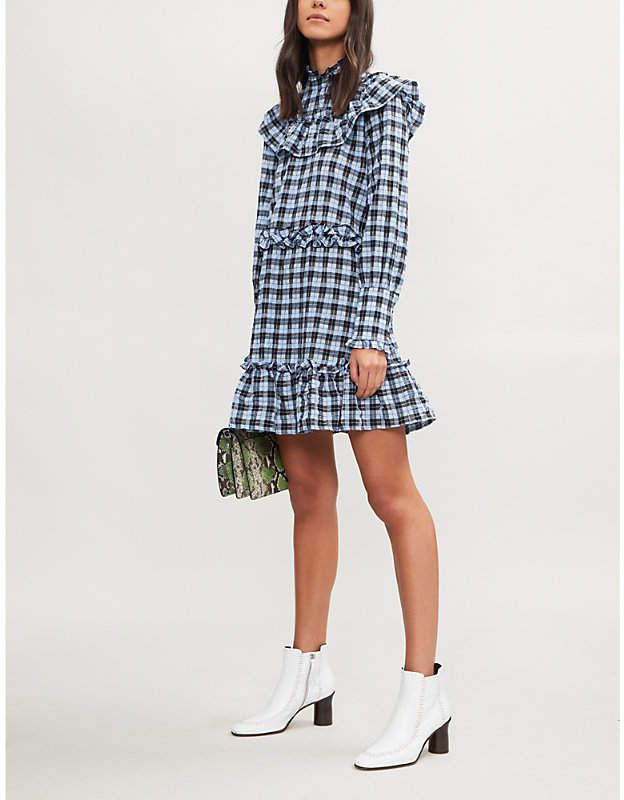 4049472d84 GANNI Charron checked cotton-blend mini dress