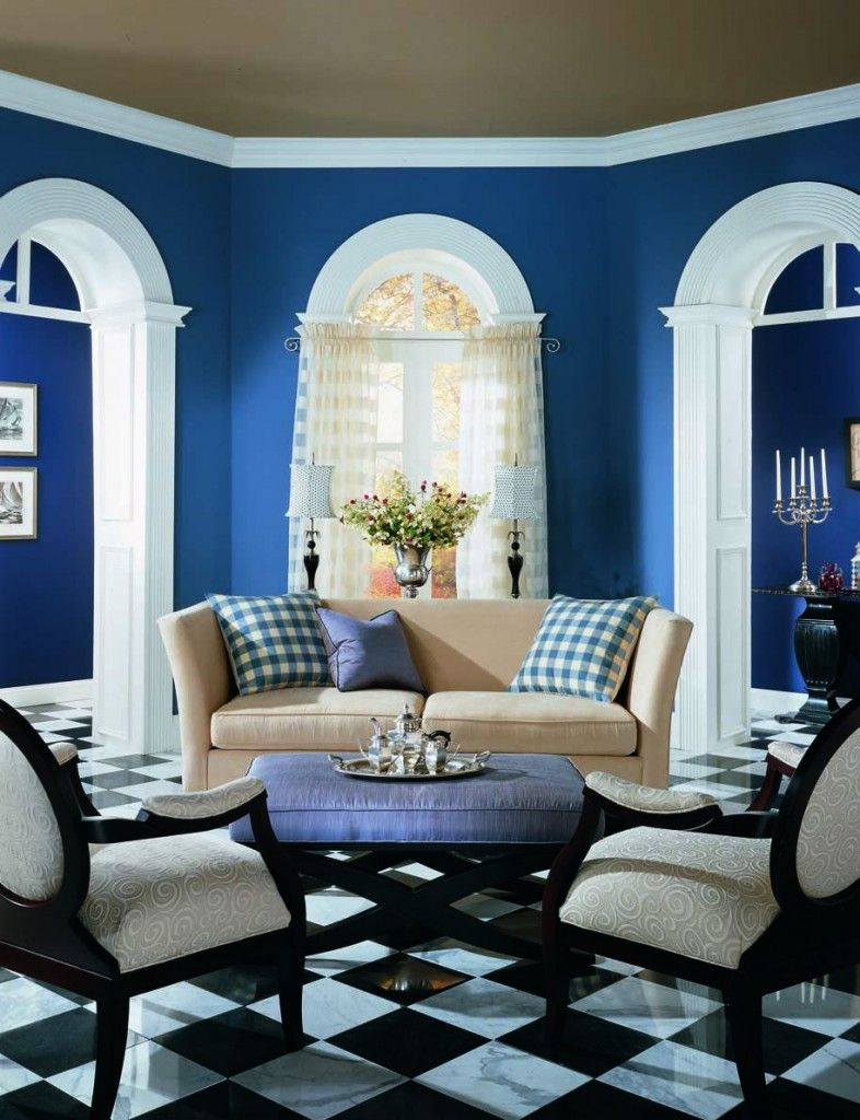 "White And Blue Living Room benjamin moore color ""blueberry."" wow. with the white trim and"
