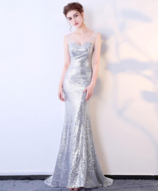 Silver sequin prom dress, V neck prom dress, mermaid ball dress ...