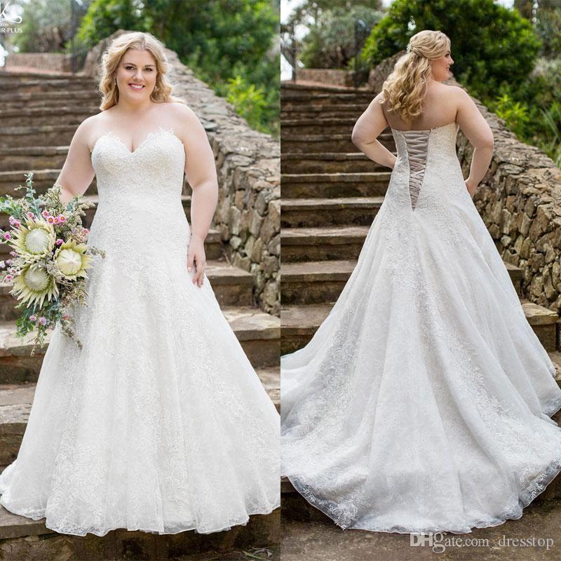 2016 Plus Size Lace Wedding Dresses A Line Sweetheart Neckline Lace ...