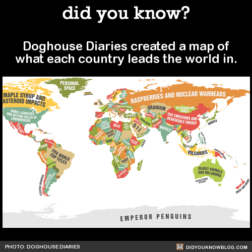 Doghouse Diaries created a map of what each country leads the world in. Source Source 2 Zoom in on the full map here.
